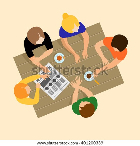 Girls gossiping. Girls communicate. Girls talk. Breakfast, lunch or dinner. Gossip. The conversations at the table. Meeting friends - stock photo