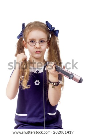 girls hair hair curling white background isolated one - stock photo