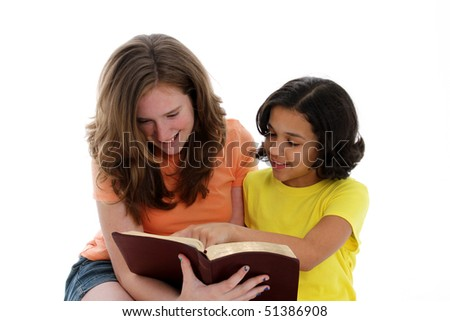 Girls having a bible study on white background