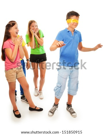 Girls hiding from boy with hidden eyes, isolated on white - stock photo