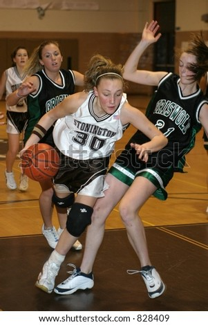 Girls high school basketball. Editorial use only.