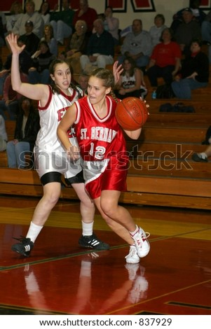 Girls high school basketball. Editorial use only. - stock photo