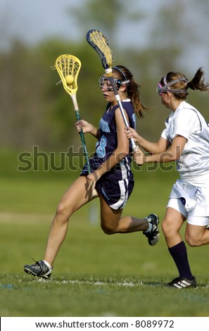 Girls High School Lacrosse - stock photo
