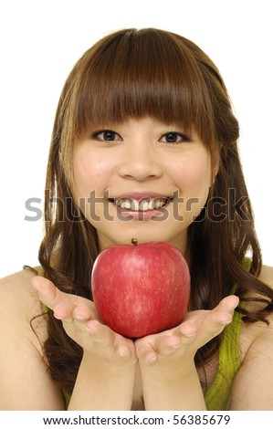 girls holding apples on hands