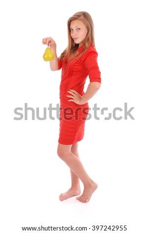 Girls holding fresh pear isolated on white - stock photo
