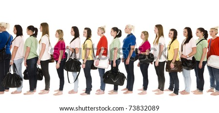 Girls in colorfull t-shirts in a line on white background - stock photo