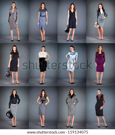 girls in different clothes, spring summer collection clothes - stock photo