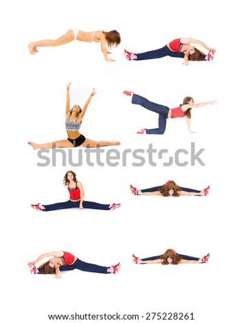 Girls in Gym Isolated Fitness  - stock photo