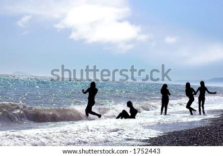 Girls in the beach - stock photo