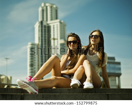 Girls in the city - stock photo