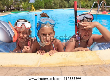 Girls in the swimming pool