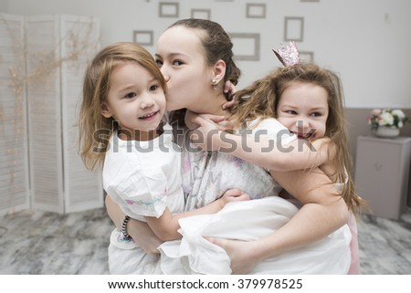 girls of a fun have fun with the room - stock photo