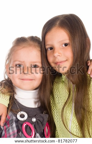 girls on a white background - stock photo