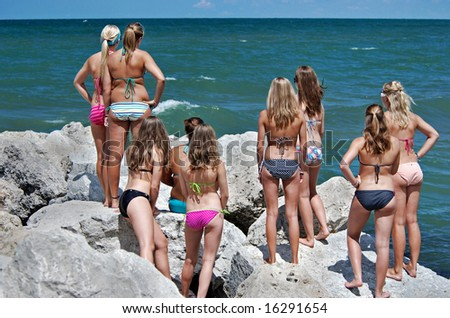 girls on rocks
