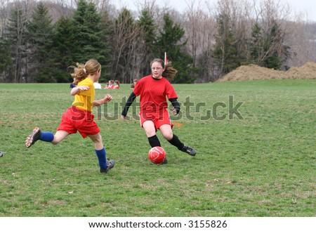Girls on Soccer Field 8 - stock photo