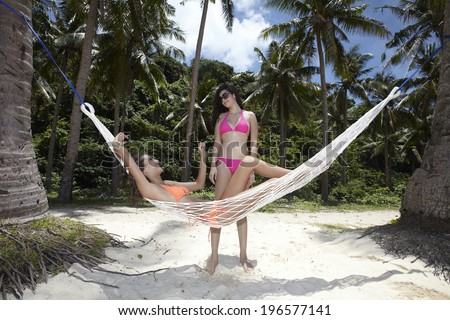 Girls on vacation at the beautiful beach,Boracay in Philippines - stock photo
