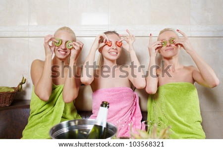Girls party in spa centre with relax and communication - stock photo
