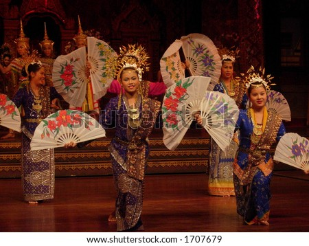 girls performing a traditional dance in bangkok - stock photo