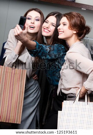 Girls photo session after shopping - stock photo