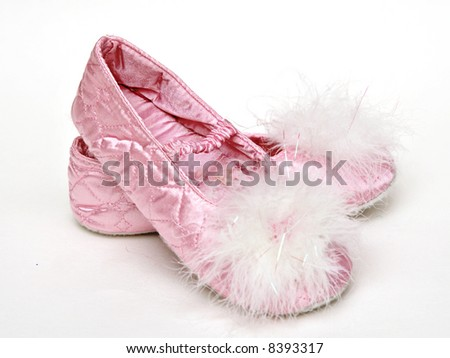girls pink bedroom slippers ballet style stock photo edit now