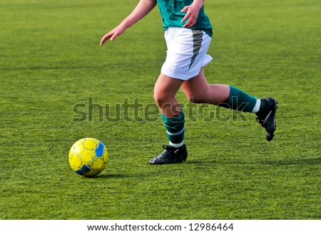 girls playing soccer  in the swedish third division - stock photo