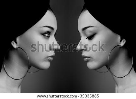 Girls reflection - stock photo