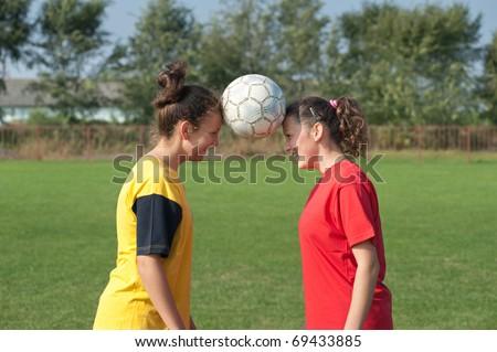 Girls  soccer - stock photo