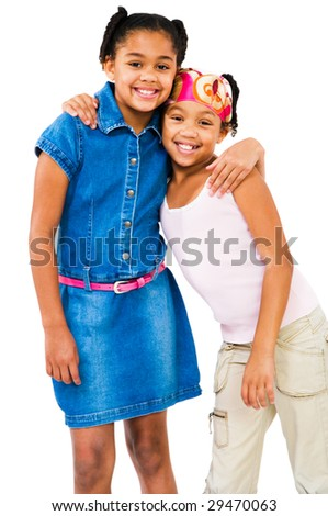 Girls standing together and smiling isolated over white - stock photo