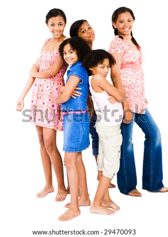 Girls standing with teenage girls and smiling isolated over white - stock photo