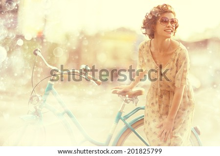 Girls summer vintage bike - stock photo