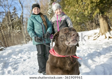 girls with dog in winter park - stock photo