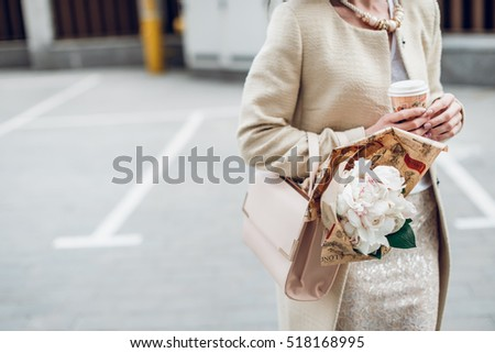 girls with flowers peonies coffee street style fashion lifestyle stylish beautiful lady woman casual fancy