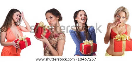 Girls with gifts on a white background - stock photo