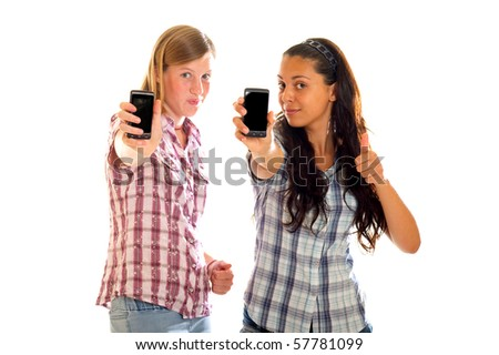 girls with mobile phone