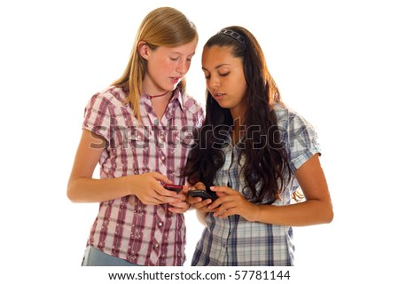 girls with mobile phone - stock photo
