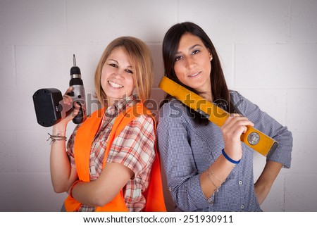 Girls workers - stock photo