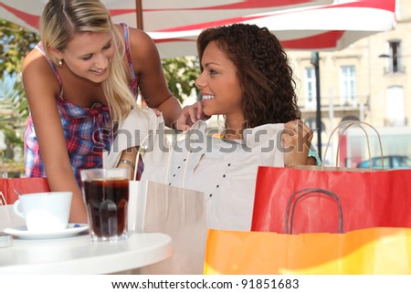 Girly shopping trip in town - stock photo
