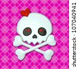 Girly Skullz: emo skull and crossbones with red heart eyes on a pink argyle background.  Seamless tile. - stock photo