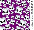 Girly Skullz: emo skulls with pink bows on a background of purple.  Seamless tile. - stock photo