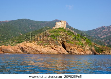 Girolata Fortress in nature reserve of Scandola, Corsica  - stock photo