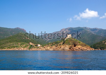 Girolata Village in Nature Reserve of Scandola, UNESCO World Heritage site, Corsica  - stock photo