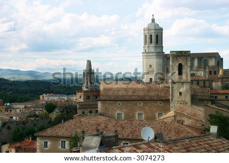 Girona cathedral panoramic view