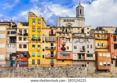Girona - colorful town near Barcelona, Spain - stock photo