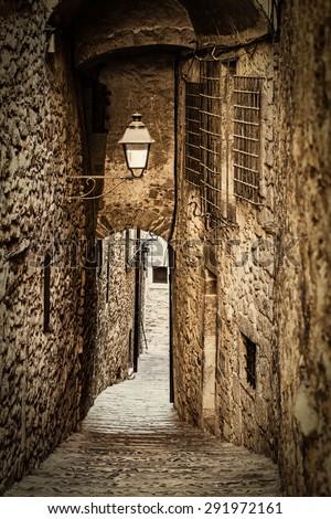 Girona jewish neighborhood, one of the best conserved jewish quarter of Spain. - stock photo