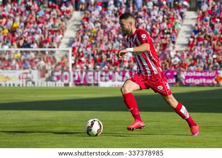 GIRONA, SPAIN - JUNE 7: David Junca of Girona in action at the Spanish Second Division League match between Girona FC and CD Lugo, final score 1 - 1, on June 7, 2015, in Girona, Spain.