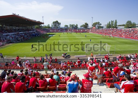 GIRONA, SPAIN - JUNE 7: People in Montilivi stadium before the Spanish Second Division League match between Girona FC and CD Lugo, final score 1 - 1, on June 7, 2015, in Girona, Spain.