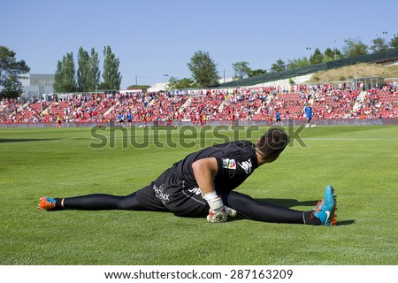 GIRONA, SPAIN - JUNE 7: Unidentified player prior the Spanish Second Division League match between Girona FC and CD Lugo, final score 1 - 1, on June 7, 2015, in Girona, Spain. - stock photo