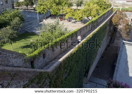 Girona, Spain - walls surround the old city.