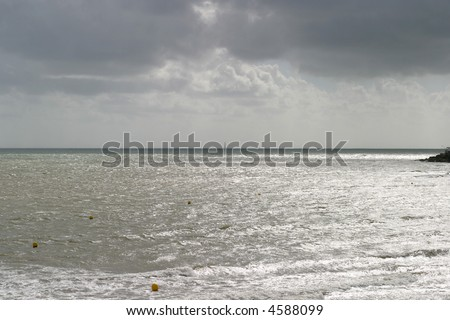 Gironde Estuary - The Cordouan lighthouse in the distance is the oldest lighthouse in France. - stock photo