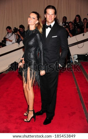 Gisele Bundchen, in Alexander Wang, Tom Brady, in Tom Ford, at American Woman: Fashioning National Identity Co-Hosted by GAP, Costume Institute, Metropolitan Museum of Art, NY May 3, 2010 - stock photo